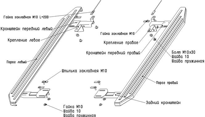 Схема установки порогов на VW
