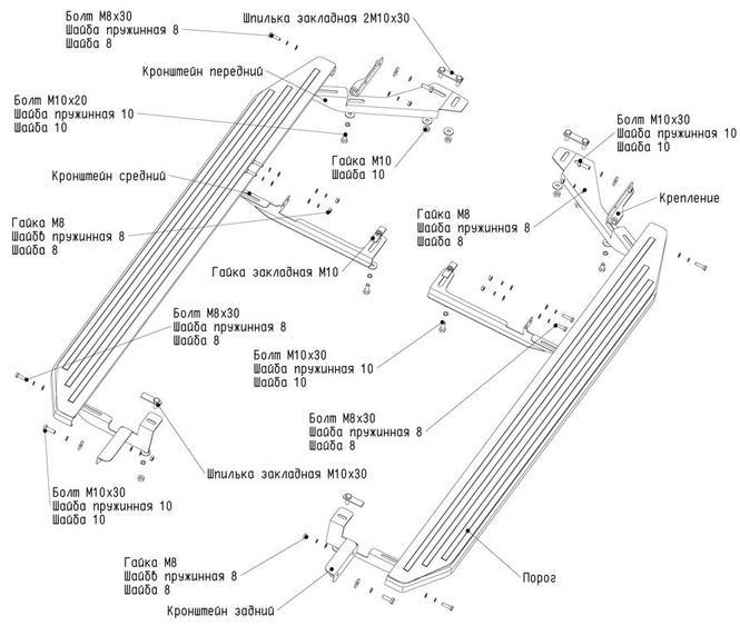 Схема установки на порогов